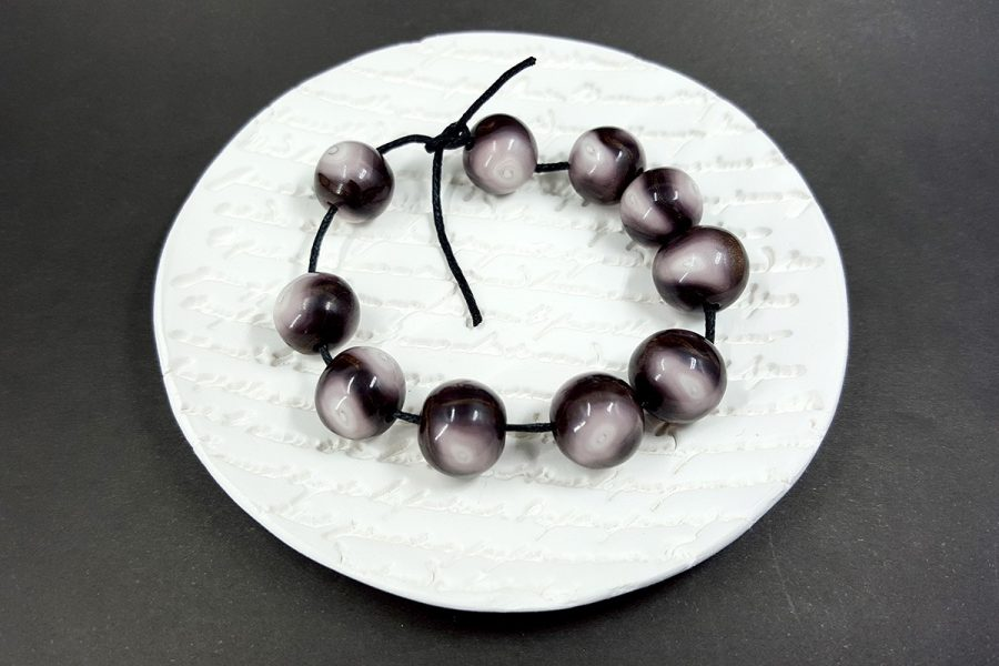 10 pcs Sanded & Buffed Handmade Round Beads from Polymer Clay by Millefiori Technique p01