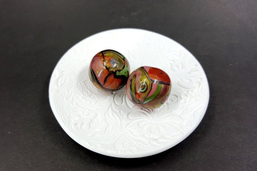 2 pcs Beads from Polymer Clay by Mokume Gane Technique Set 3 p02