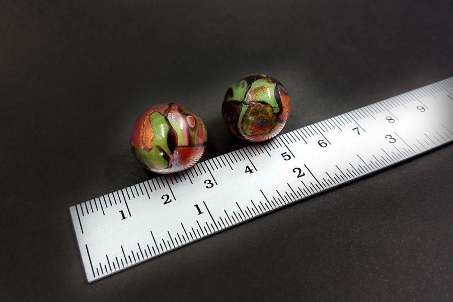 2 pcs Beads from Polymer Clay by Mokume Gane Technique Set 3 p04