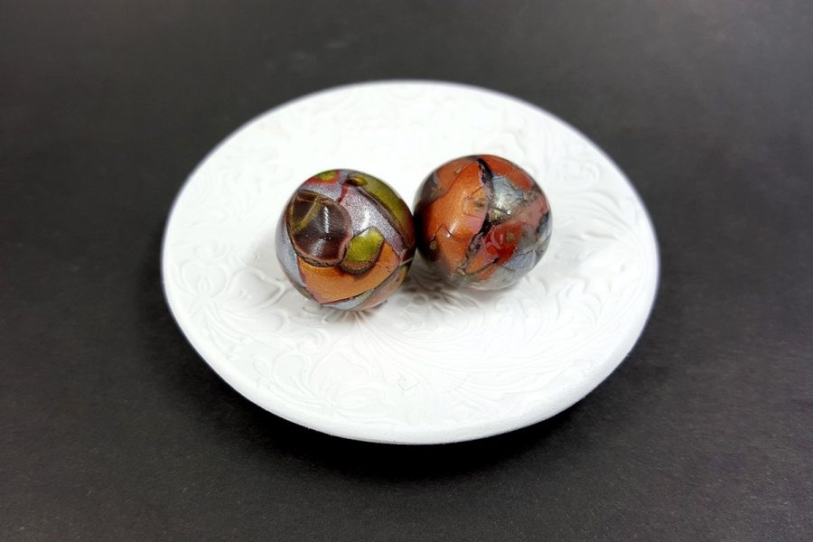 2 pcs Beads from Polymer Clay by Mokume Gane Technique p01