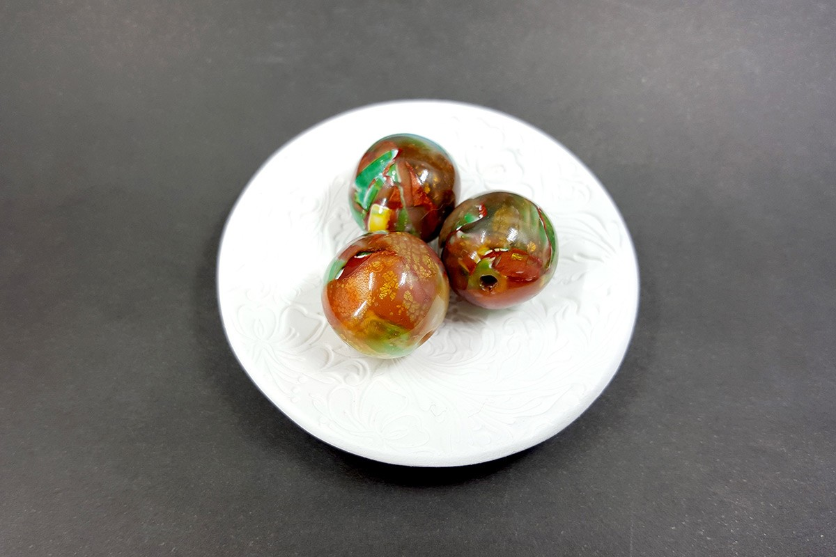 3 pcs Handmade Beads from Polymer Clay