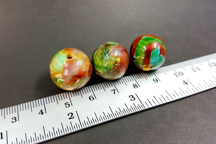 3 pcs Handmade Beads from Polymer Clay p07