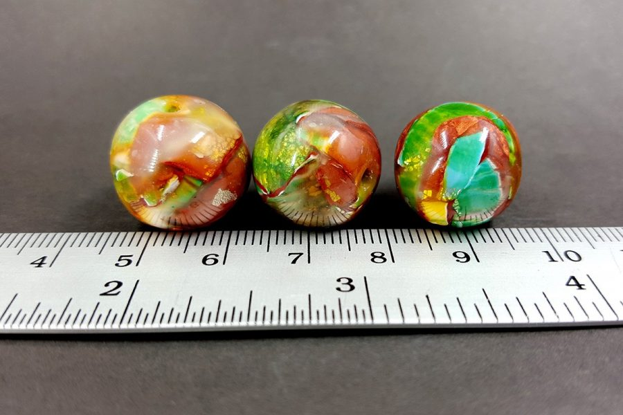 3 pcs Handmade Beads from Polymer Clay p09