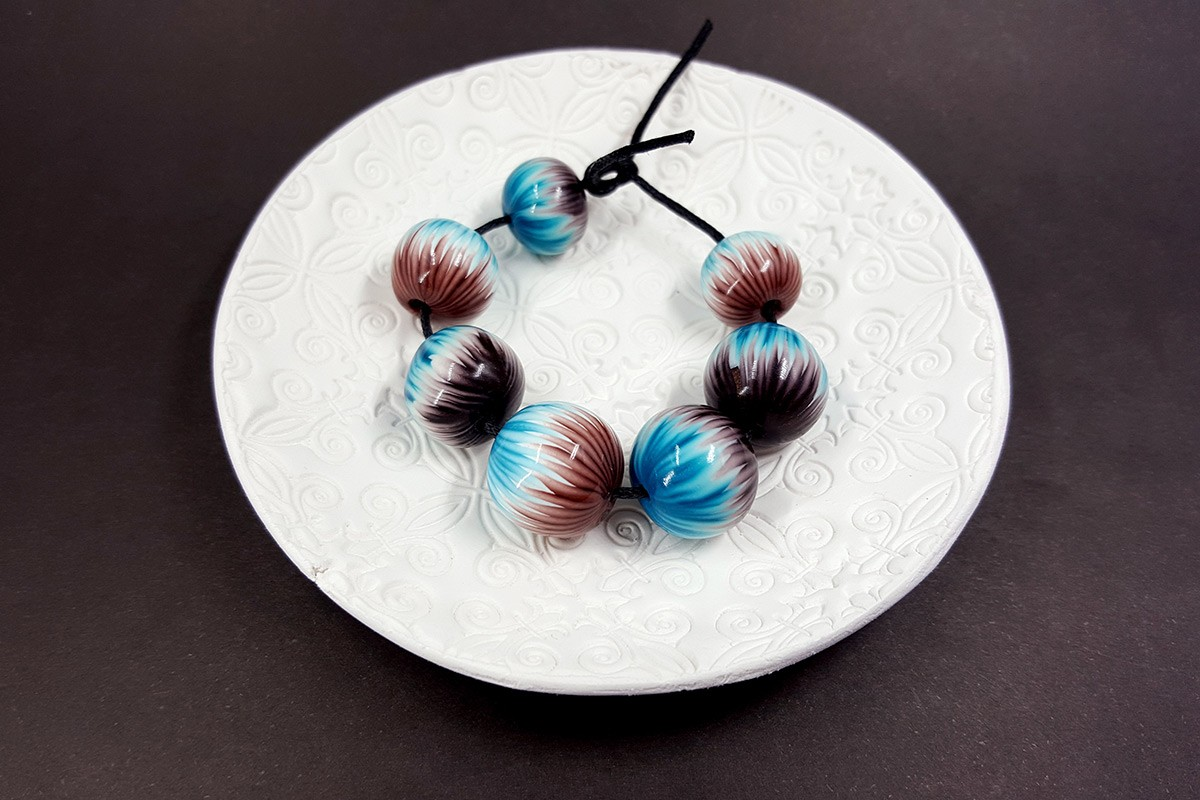 Round Beads from Polymer Clay by Millefiori Technique, 7 pcs