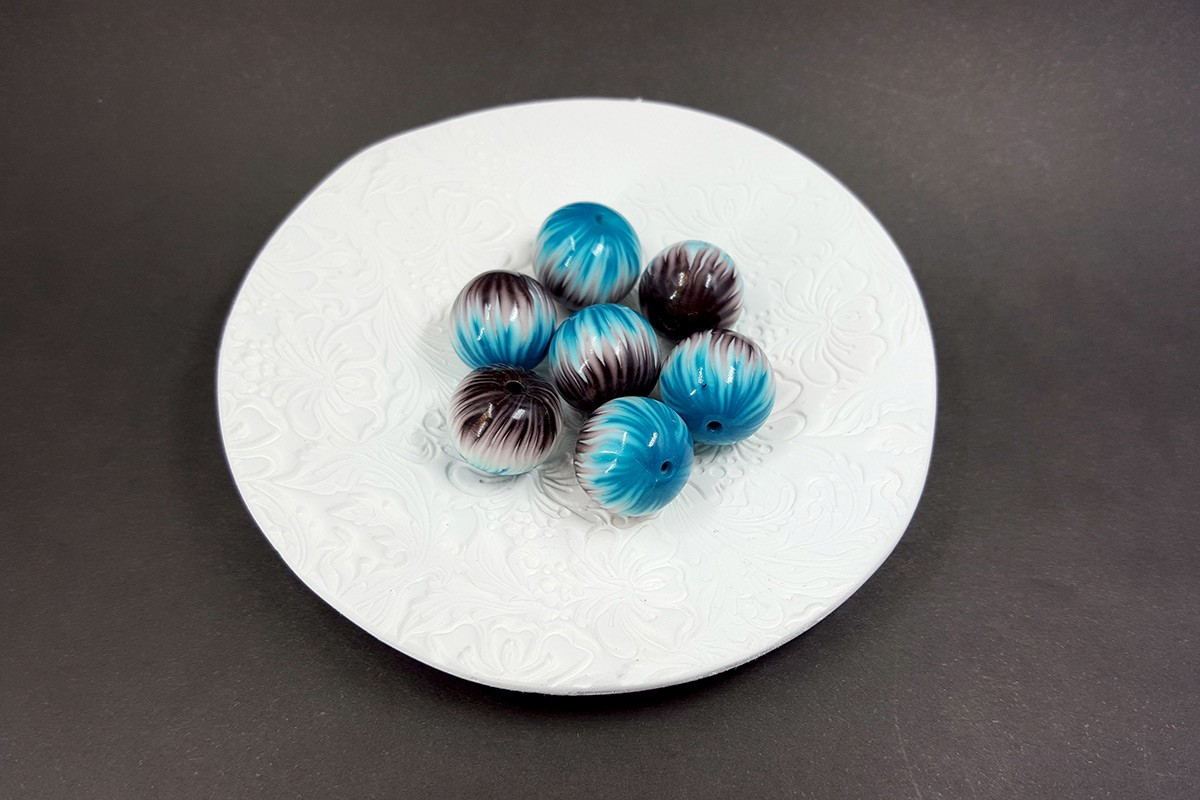 7 pcs Round Beads from Polymer Clay by Millefiori Technique