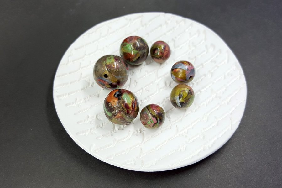 7 pcs Round Beads from Polymer Clay in Brown, Green, Silver Colors p04