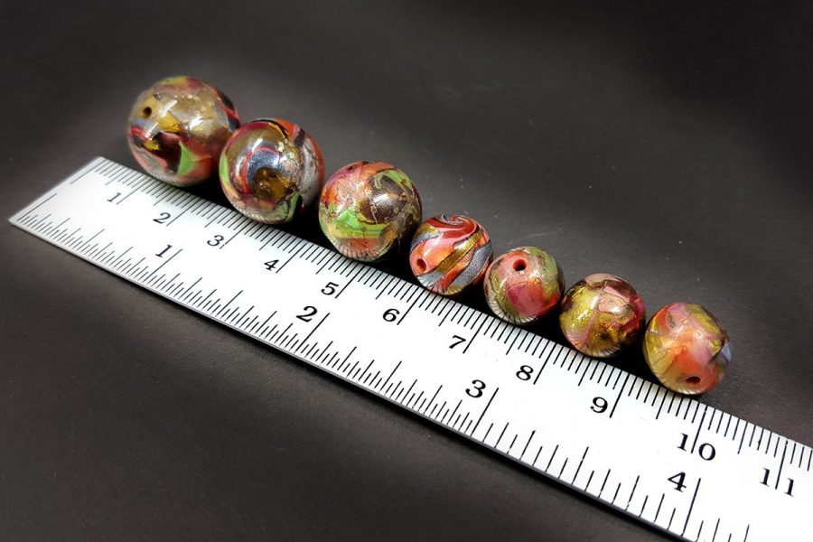 7 pcs Round Beads from Polymer Clay in Brown, Green, Silver Colors p08