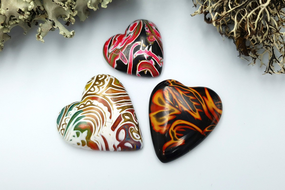 3 pcs Heart Cabochone from Polymer Clay