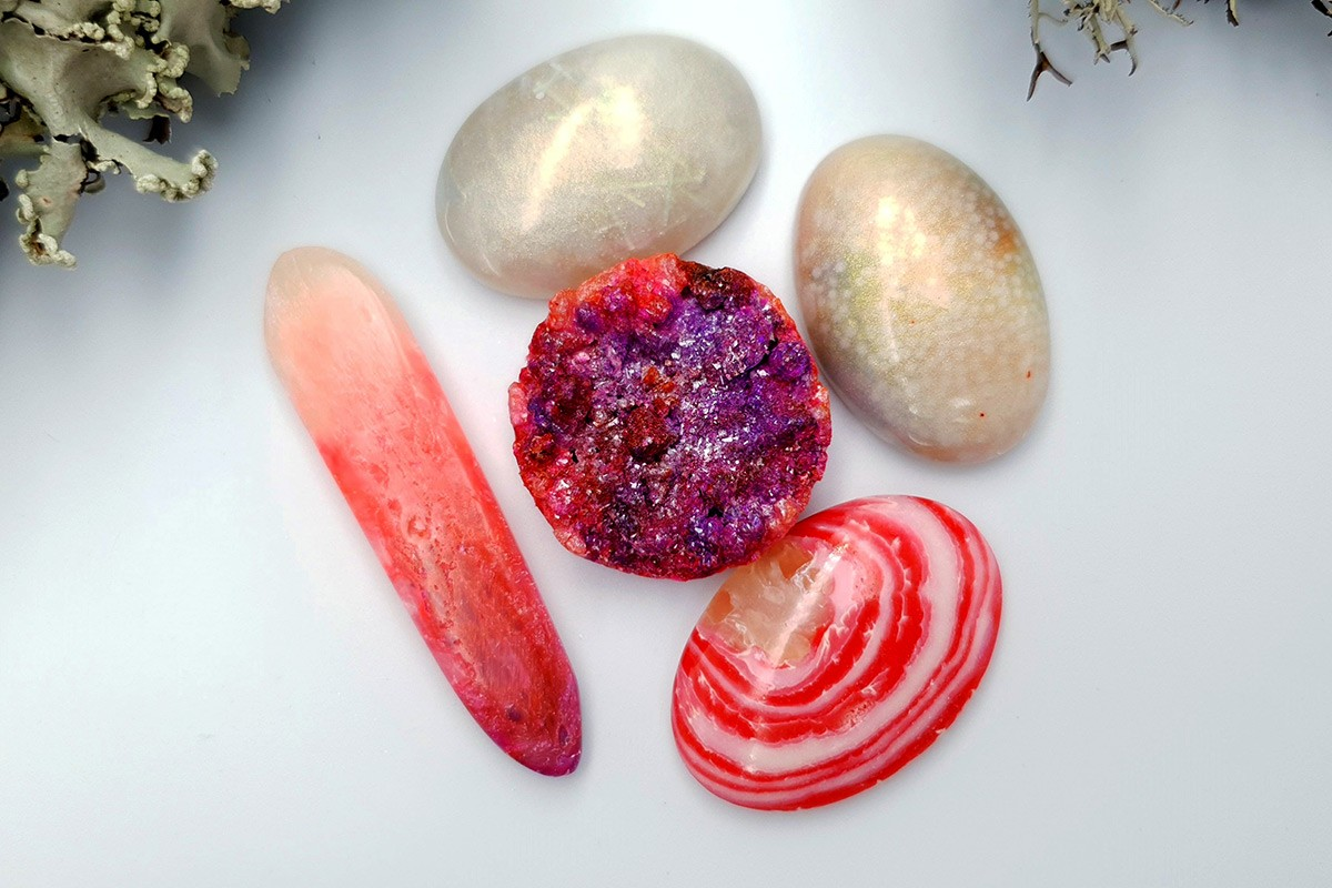 5 pcs Faux Pink Stones from Polymer Clay (Set #4)
