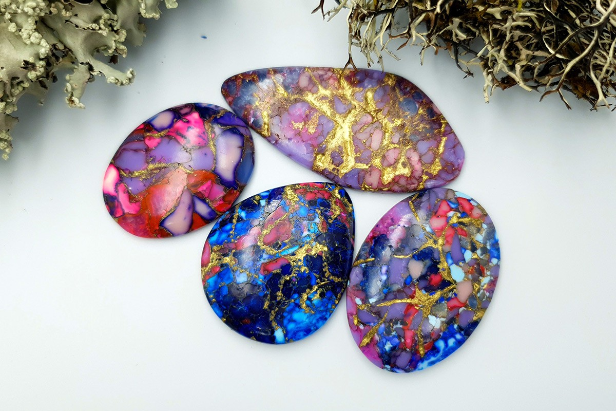4 pcs Cabochones Faux Turquoice from Polymer Clay (Set #4)