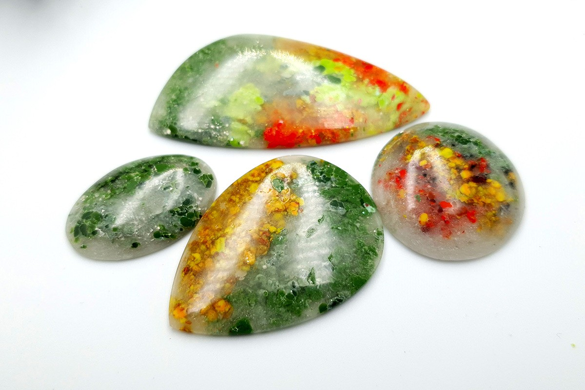 4 pcs Faux Moss Agate from Polymer Clay (Set-02)