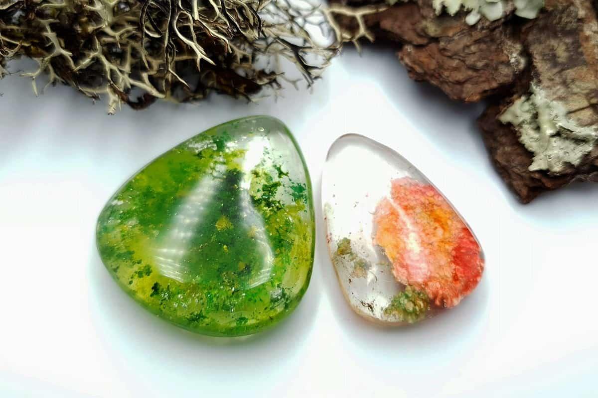 UV Resin Faux Moss Agate & Faux Lodolite Quartz Stones