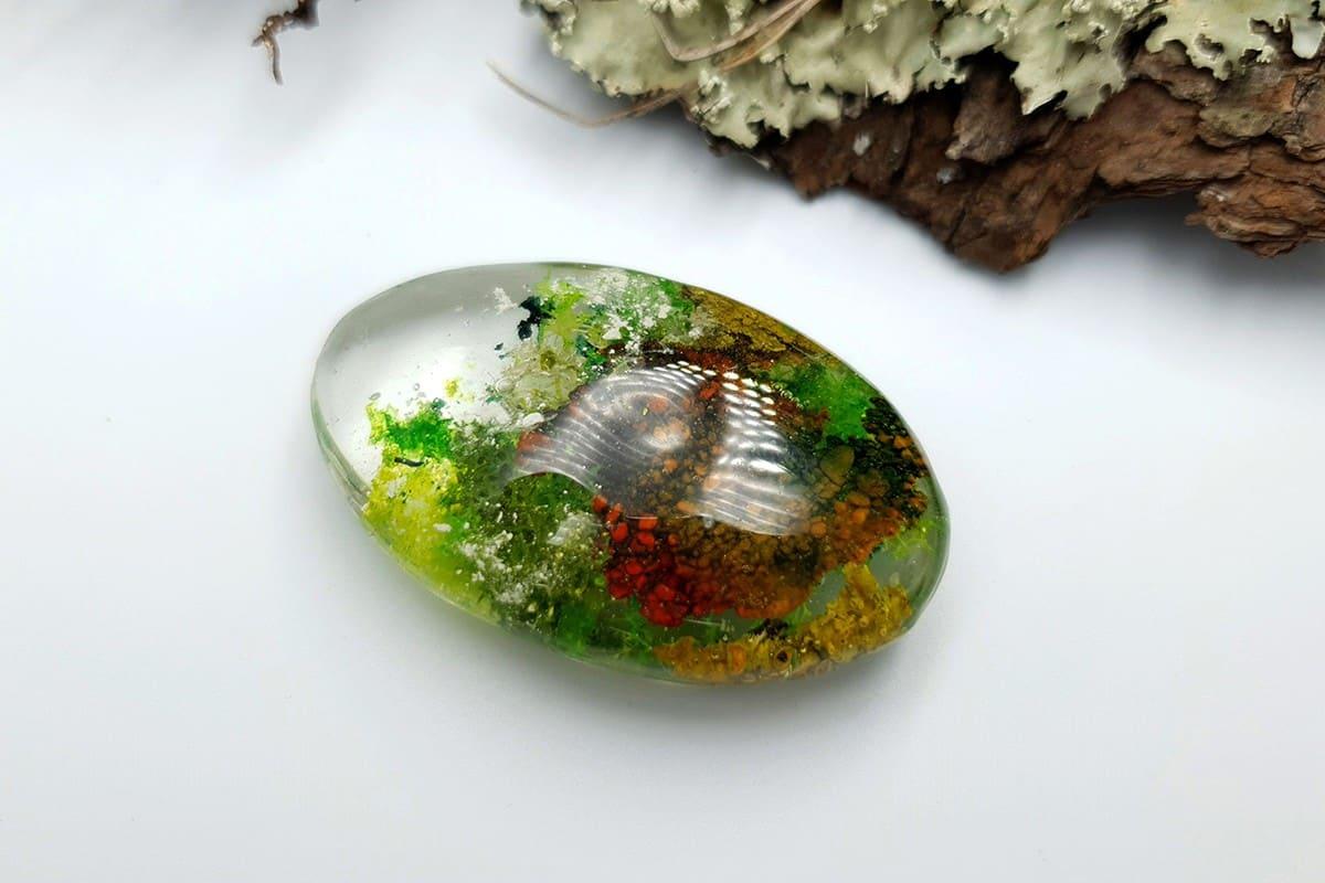 1 pcs UV Resin Faux Moss Agate Stone (Set #1)