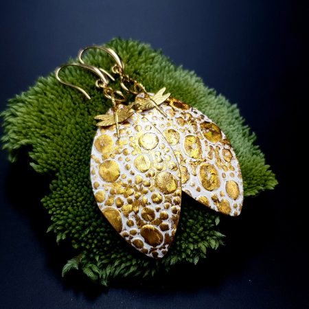 Earrings Golden Dragonfly and Sun