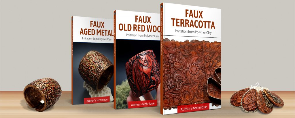 Faux materials: Terracotta, Red Wood and Aged Metal - Polymer Clay Course