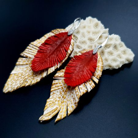 """""""Feathers"""" Faux leather earrings"""