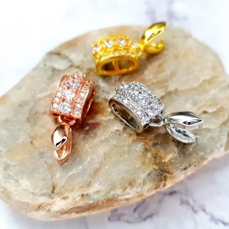 3 Pcs Set Of High Quality 3 Colors Gold Full Of Crystals Pendant Pinch Bail