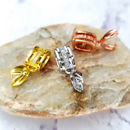 3 Pcs Set Of High Quality Golden, Silver And Rose Gold Crystals Pendant Pinch Bail