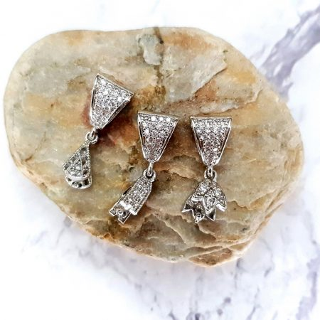 3 Pcs Set Of High Quality Silver Crystals Pendant Pinch Bail