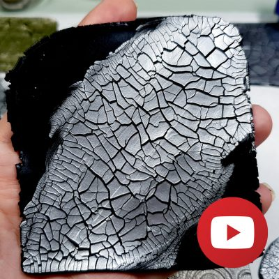 Easy crackle effect on raw polymer clay with paste