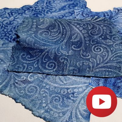 Embossed faux jeans fabric on polymer clay