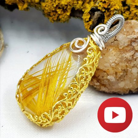 Wrapped Pendant with Faux Rutilated Quartz