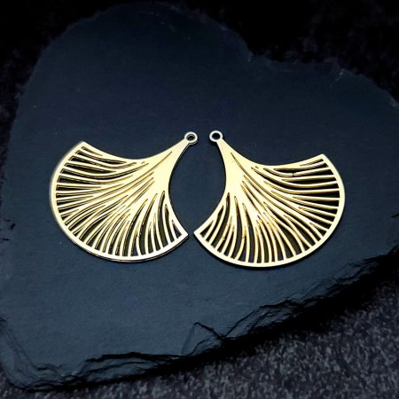 Pair of golden exotic leafs charms for earrings unusual shape