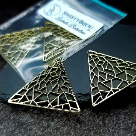 Pair of unique golden color triangle shape charms for earrings