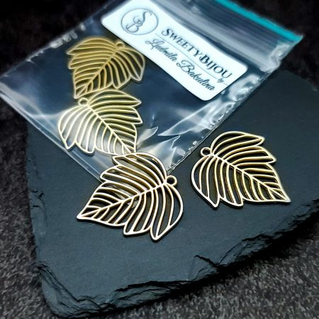 Pair of matt golden color beautiful leafs charms for earrings