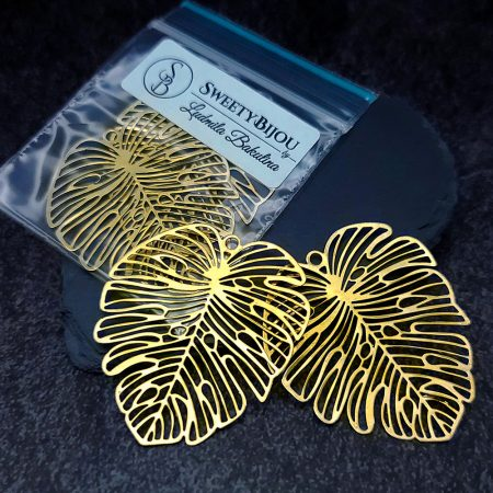 Pair of large gold vintage color exotic leafs charms for earrings