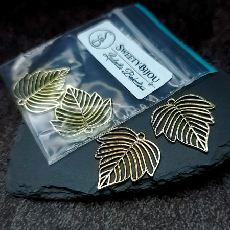 Pair of gloss golden color beautiful leafs charms for earrings