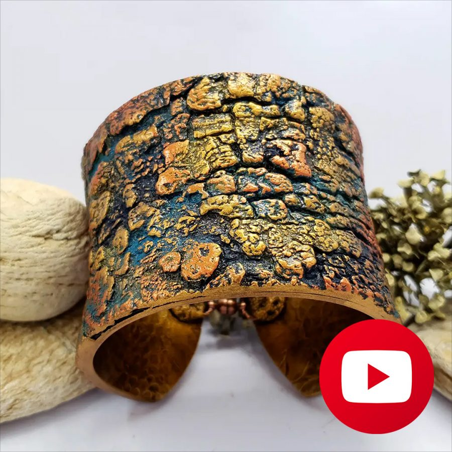 How to make polymer clay bracelet with tree bark texture