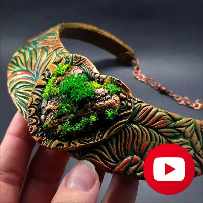 How to make polymer clay necklace with nature motives: fern, tree bark, moss