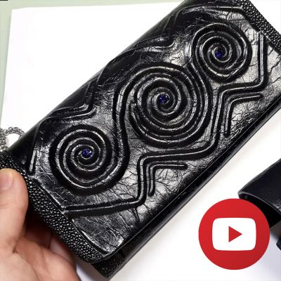 How to make unique polymer clay faux black leather clutch