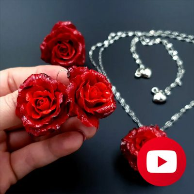How to make red roses earrings from polymer clay