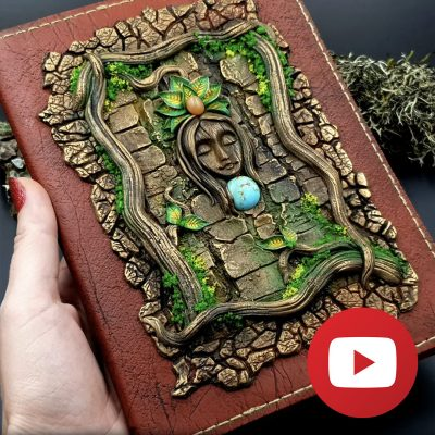 How to make faux leather cover for sketch book from FIMO leather
