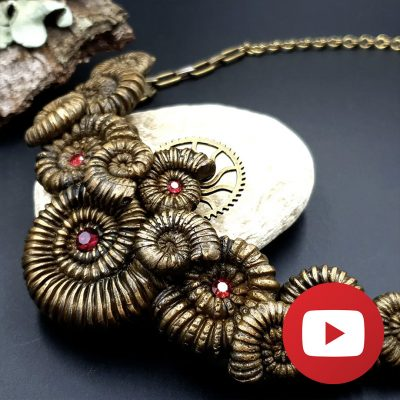 How to make polymer clay ammonite necklace