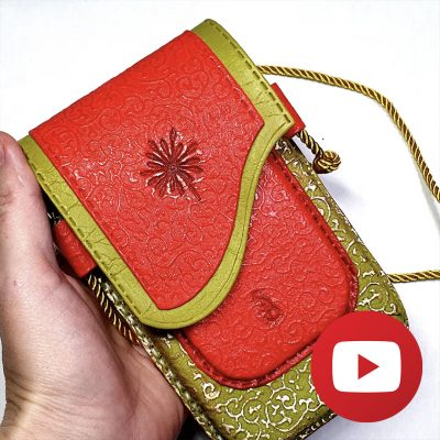 How to make polymer clay faux leather phone case-bag