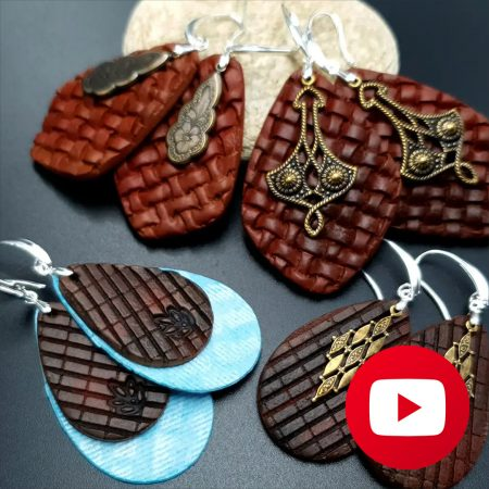 How to make polymer clay faux leather and jeans earrings