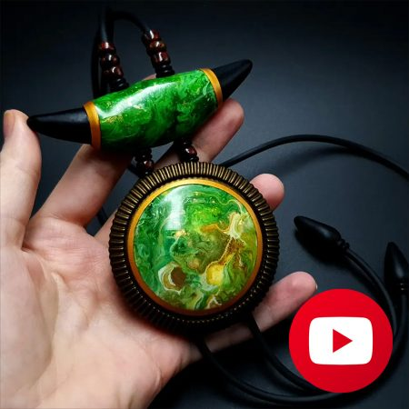 How to make polymer clay long pendant with acrylic pouring veneers