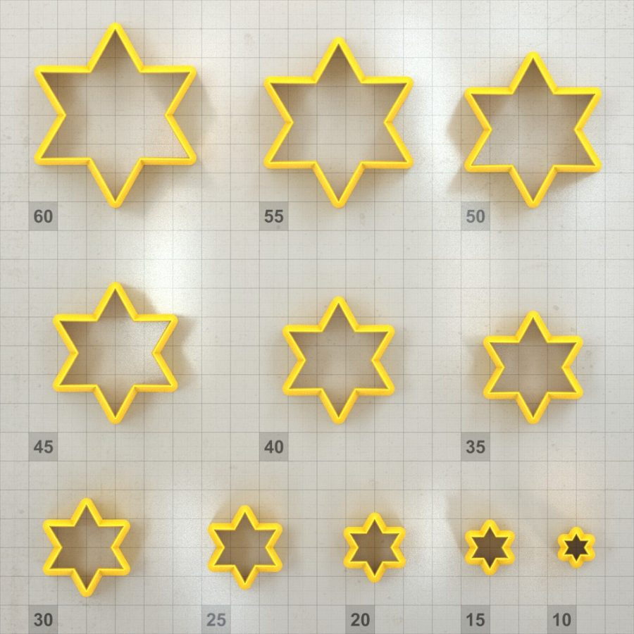Big set of 11 plastic cutters: 6-POINTED STAR #1