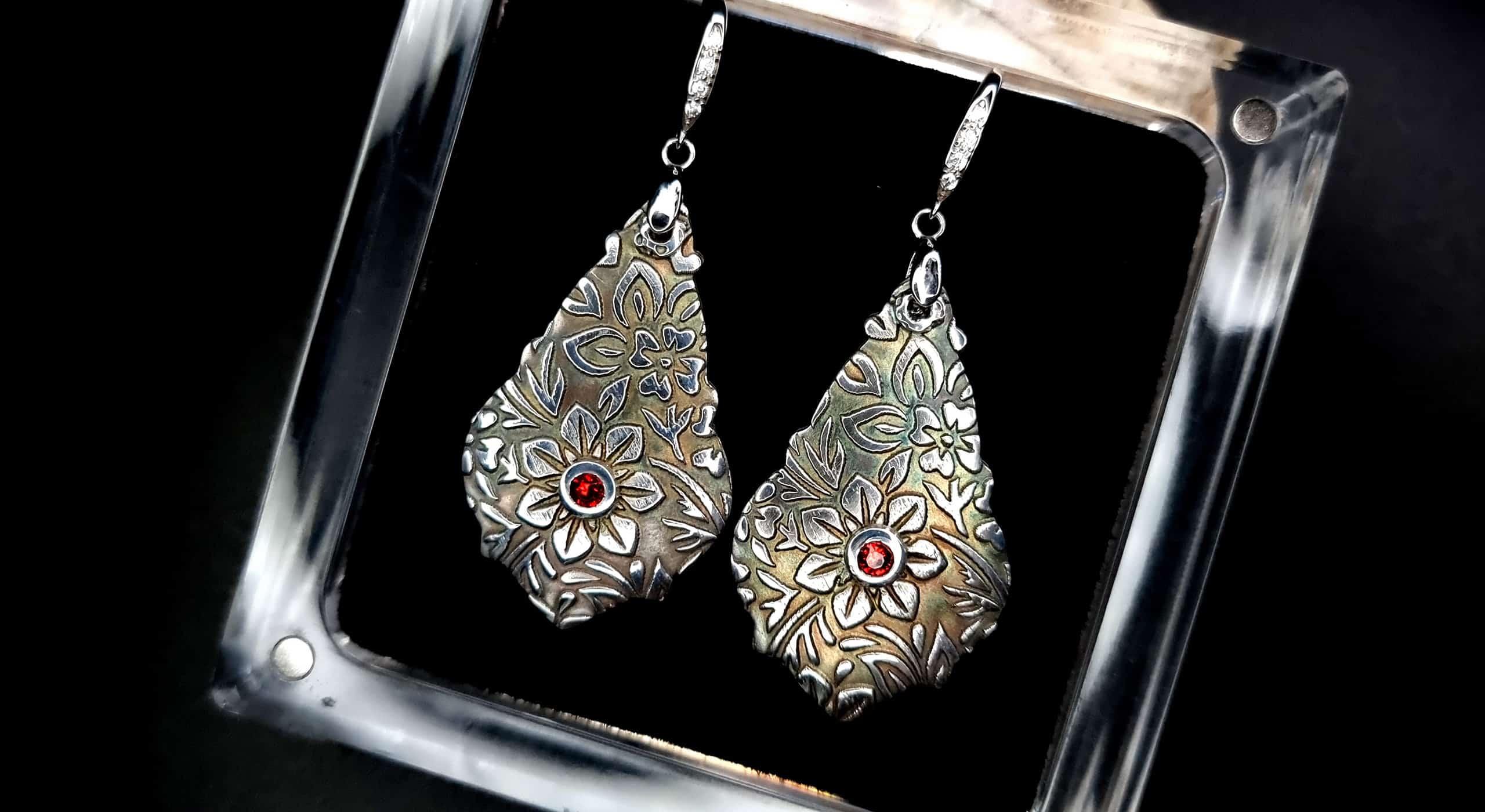 Unique romantic silver earrings